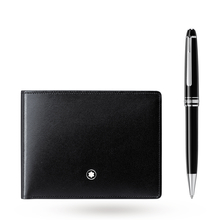 Montblanc Set with Meisterstück Platinum Classique Ballpoint Pen and Meisterstück Wallet 6CC