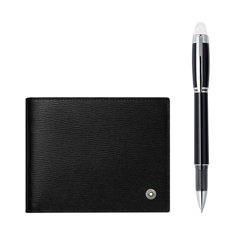 Montblanc Set with StarWalker Platinum Fineliner and 4810 Westside Wallet 6cc black