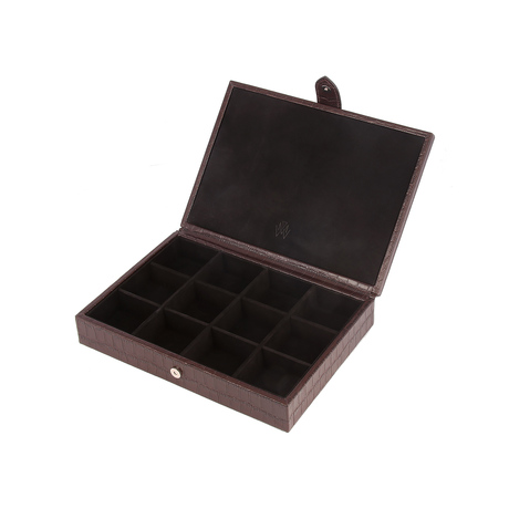 Brown Bloomsbury Leather 12 Piece Cufflink Box