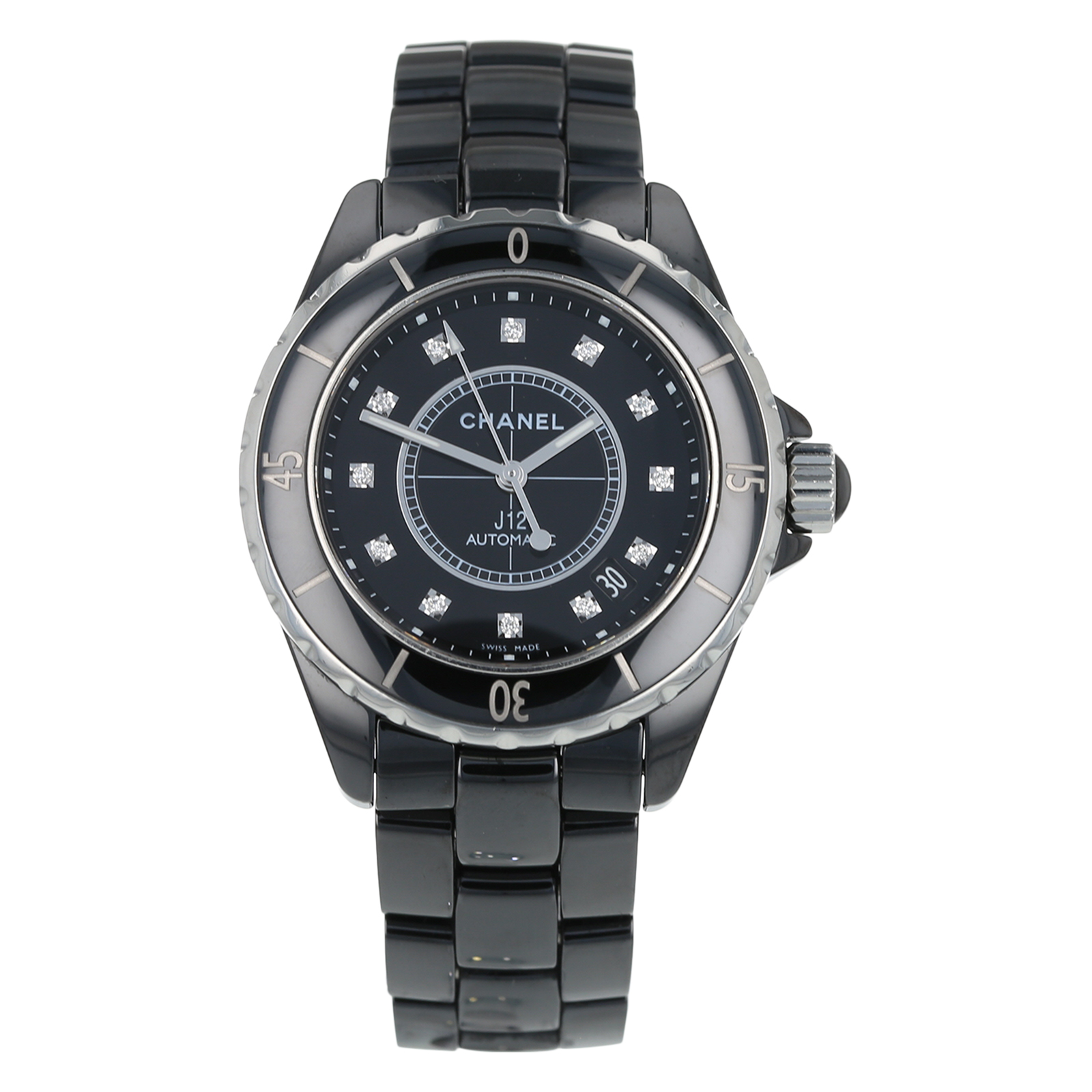 Pre-Owned Chanel J12 Black Ceramic Mens Watch H1626