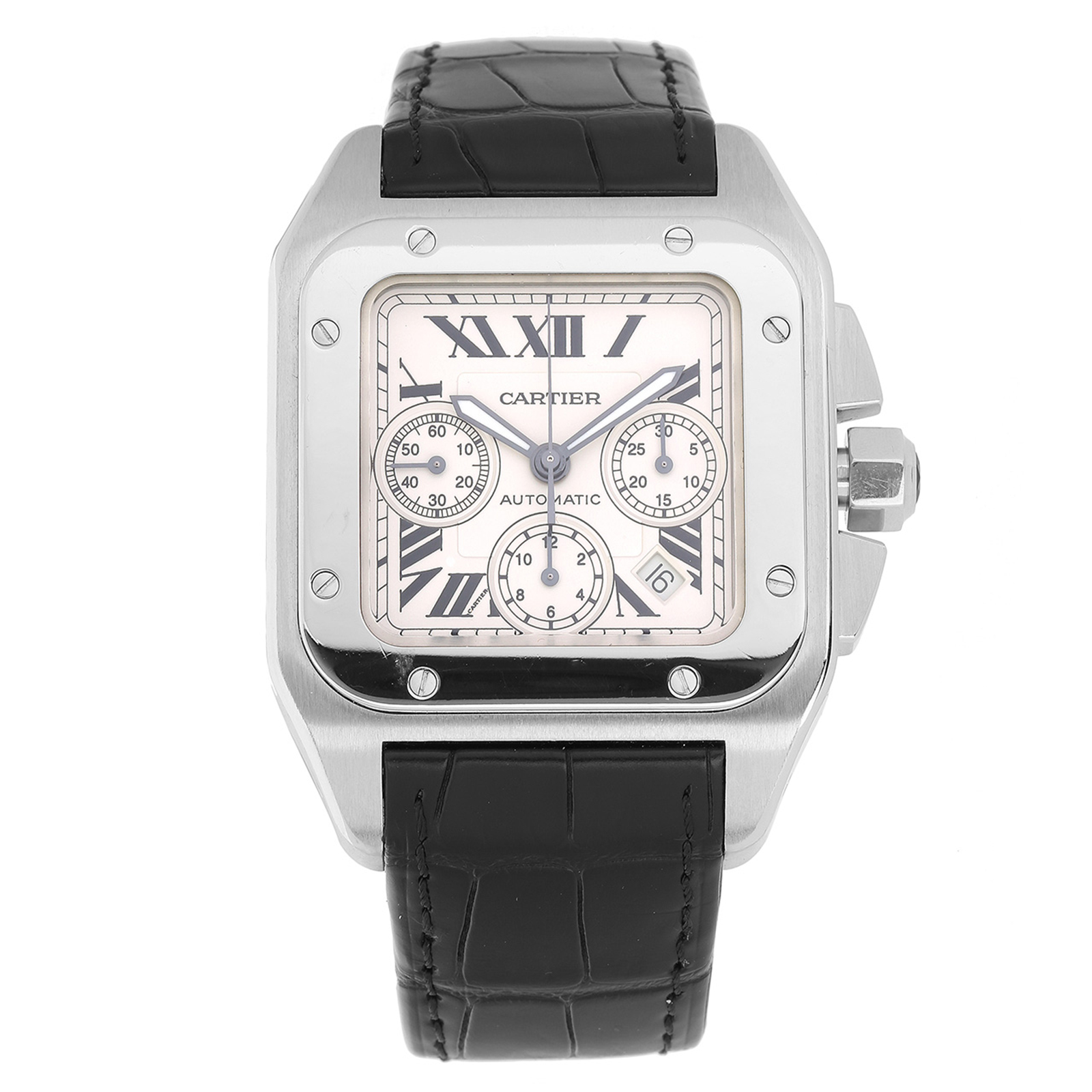 cartier stainless santos htm xxl sale watches on xl chronograph trusted a seller for from steel