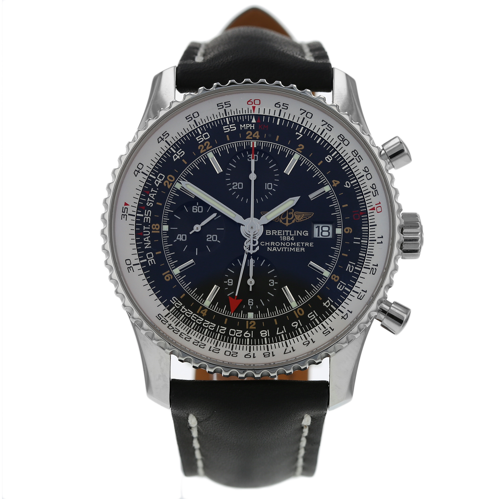 Pre Owned Breitling Navitimer World Chronometer Mens Watch A24322